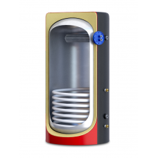 Теплоакумулятор з ізоляцією, нижнім вмонтованим нержавіючим теплообмінником та верхнім трубчатим теплообмінником